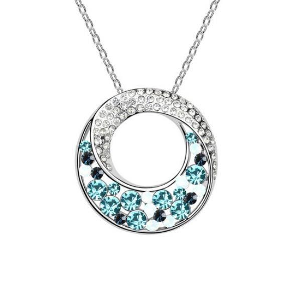 Pendentif Cercle en Cristal de Swarovski Elements Bleu