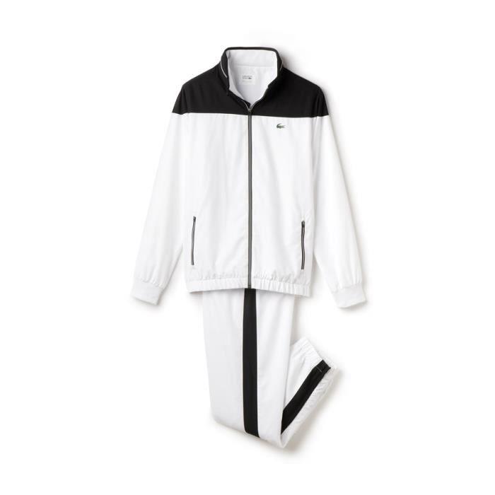96d5596e9e 100% polyester. SURVÊTEMENT Survêtement Lacoste blanc et noir en taffetas.