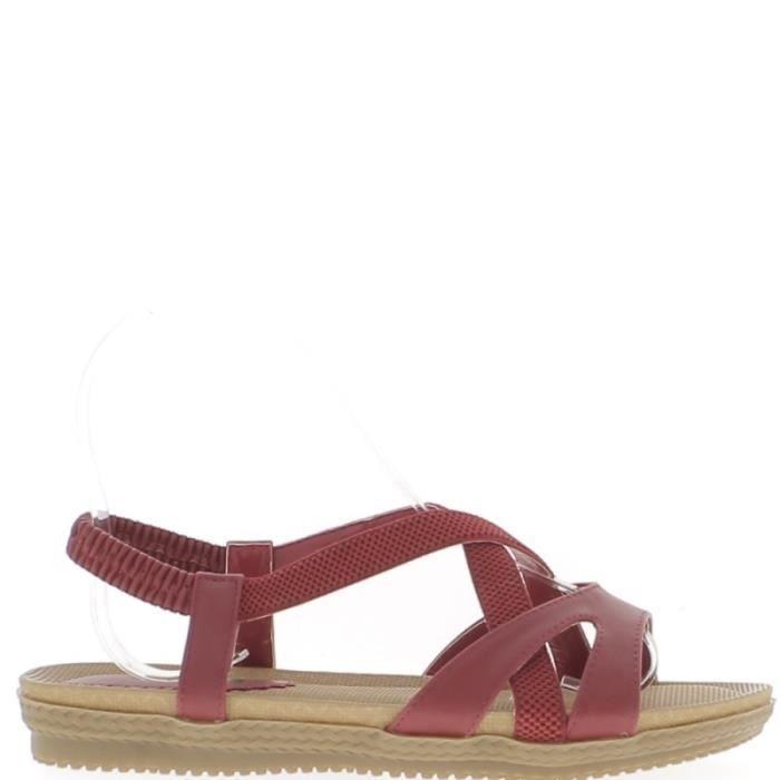 Sandales plates rouges avec semelle confort