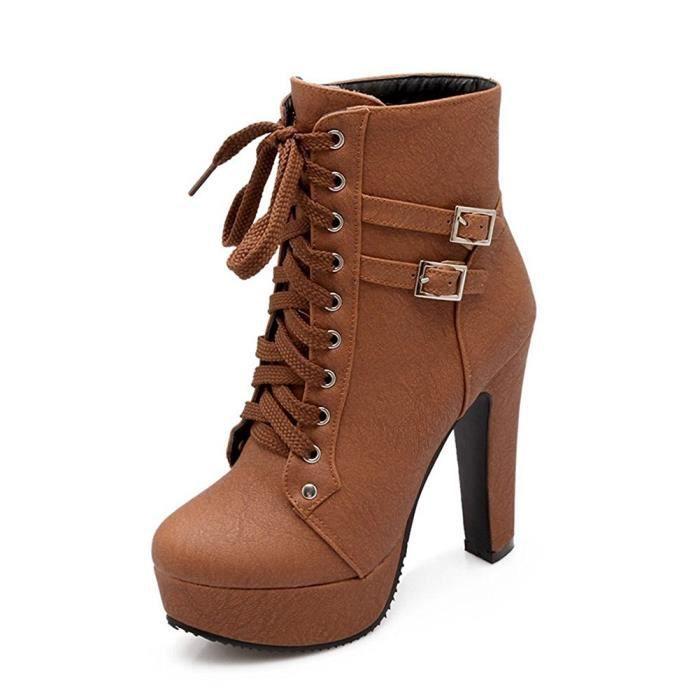 Minetom Femme Martin Boots Automne Hiver Bottines Cheville Bottes À Lacets Et Boucle Bout Rond Couleur Unie Talon Haut Lacet fbAnN