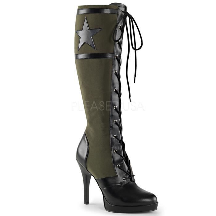 """Funtasma ARENA-2022 4 1/2"""" Heel, Front Lace Up Knee High Military Boot, Side Zip"""