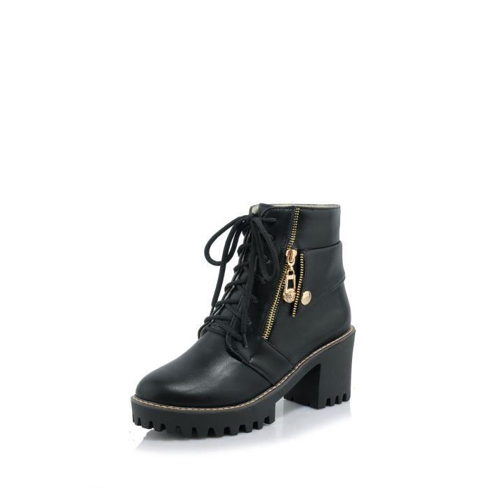 Les femmes Bottes de cheville élégant talon épais plateforme lacées Casual Chic Chaussures Femmes 10371602
