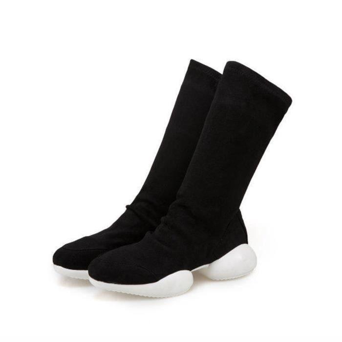 Napoulen®Mode Zipper Flatform med fourrure bottes de neige LoisirsNoir-YSZ70922494BK 2kqGx