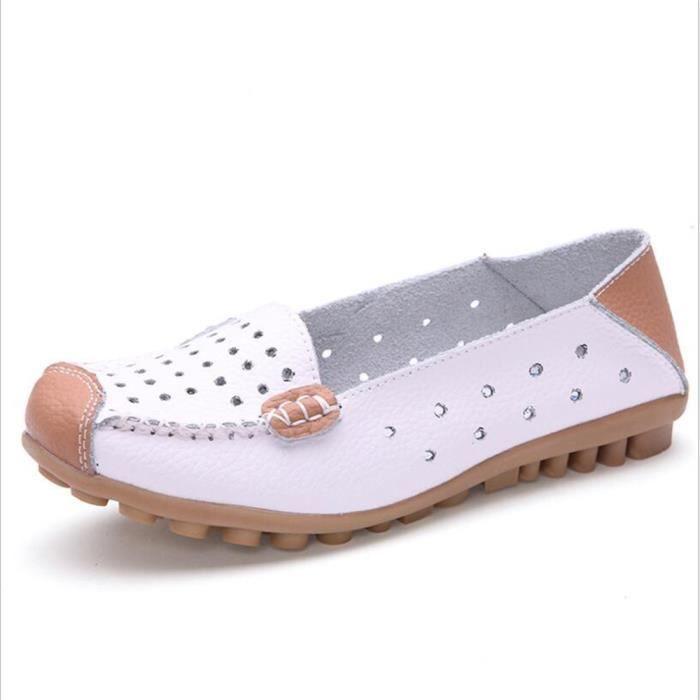 Mocassin Femme Cuir Occasionnelles Leger Chaussure BXX-XZ044Blanc37