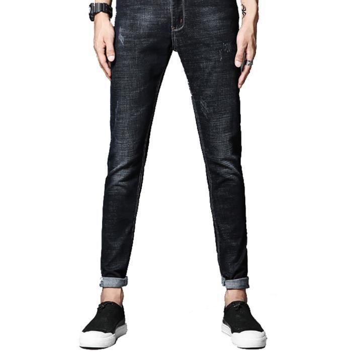 33c4c5a4c8104 Pantalon en jeans taille basse Casual Style Stretch Homme Pantalon en jeans  Coupe Slim pied contraction