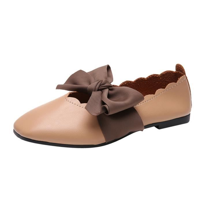 Toe Pointed Bowknot 862 Femmes Slip Shoes Heel Low Marron Flat On y Shallow Single qFpxHt
