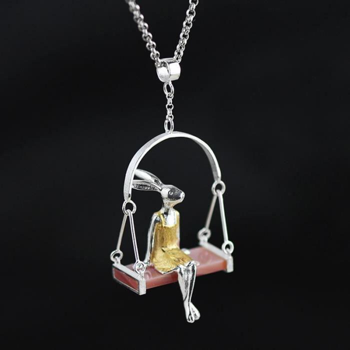 Mlle Lapin Collier Pendentif Naturel Pendentif 925 Bijoux Fabriqués en Argent Sterling pour Femmes