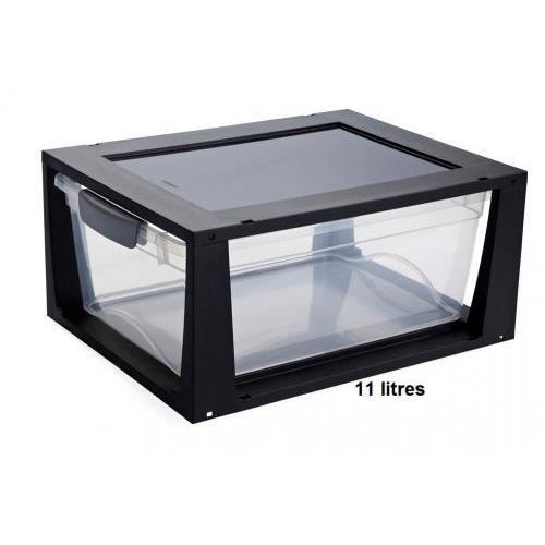 boite de rangement plastique empilable ferm e achat vente boite de rangement cdiscount. Black Bedroom Furniture Sets. Home Design Ideas