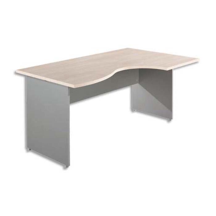 TABLE DE RÉUNION Bureau retour gauche érable L160 x P80 cm + paire