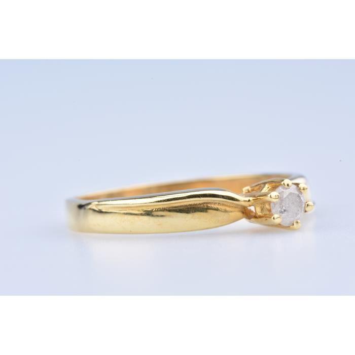 Bague Solitaire en Or Jaune 18 ct (750/1000) 1 Diamant à env 0,18 ct