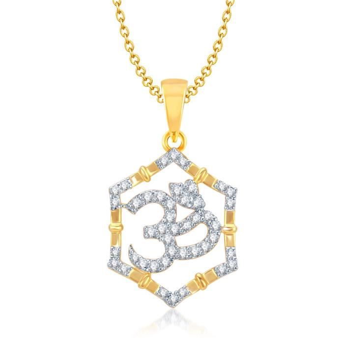 Womens Om God Pendant With Chain For ,gold Plated In American Diamond Cz Jewellery Gp0114 IUJ1K