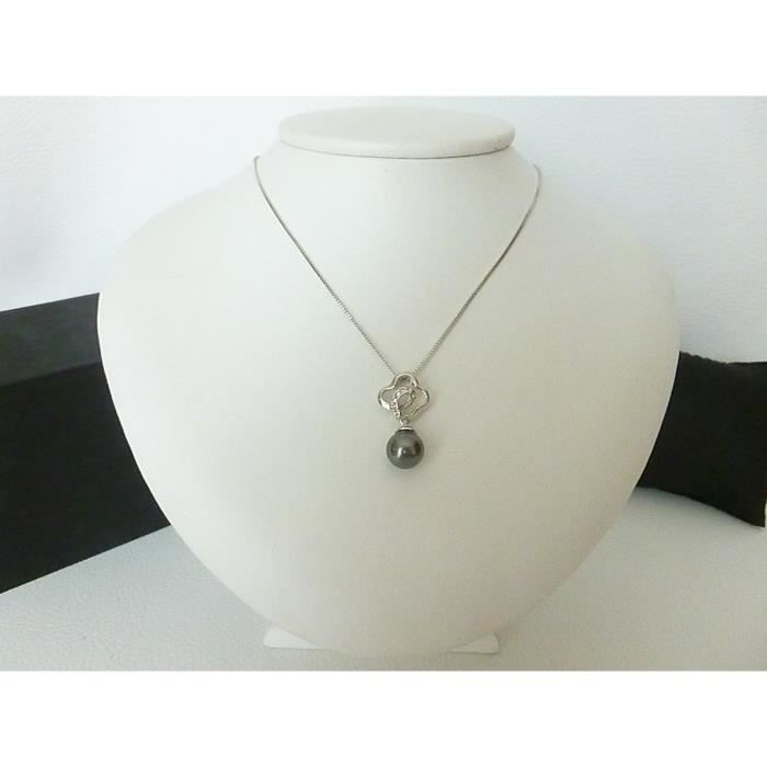 Collier Femme Perle Grise Neuf