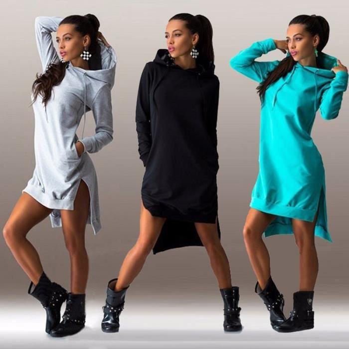 Robe femmes À la mode rétro irrégulière Hooded manches longues