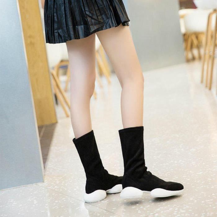 Napoulen®Femmes bottes loisirs tissus extensible combat à faible talon Noir-SJF71130731BK