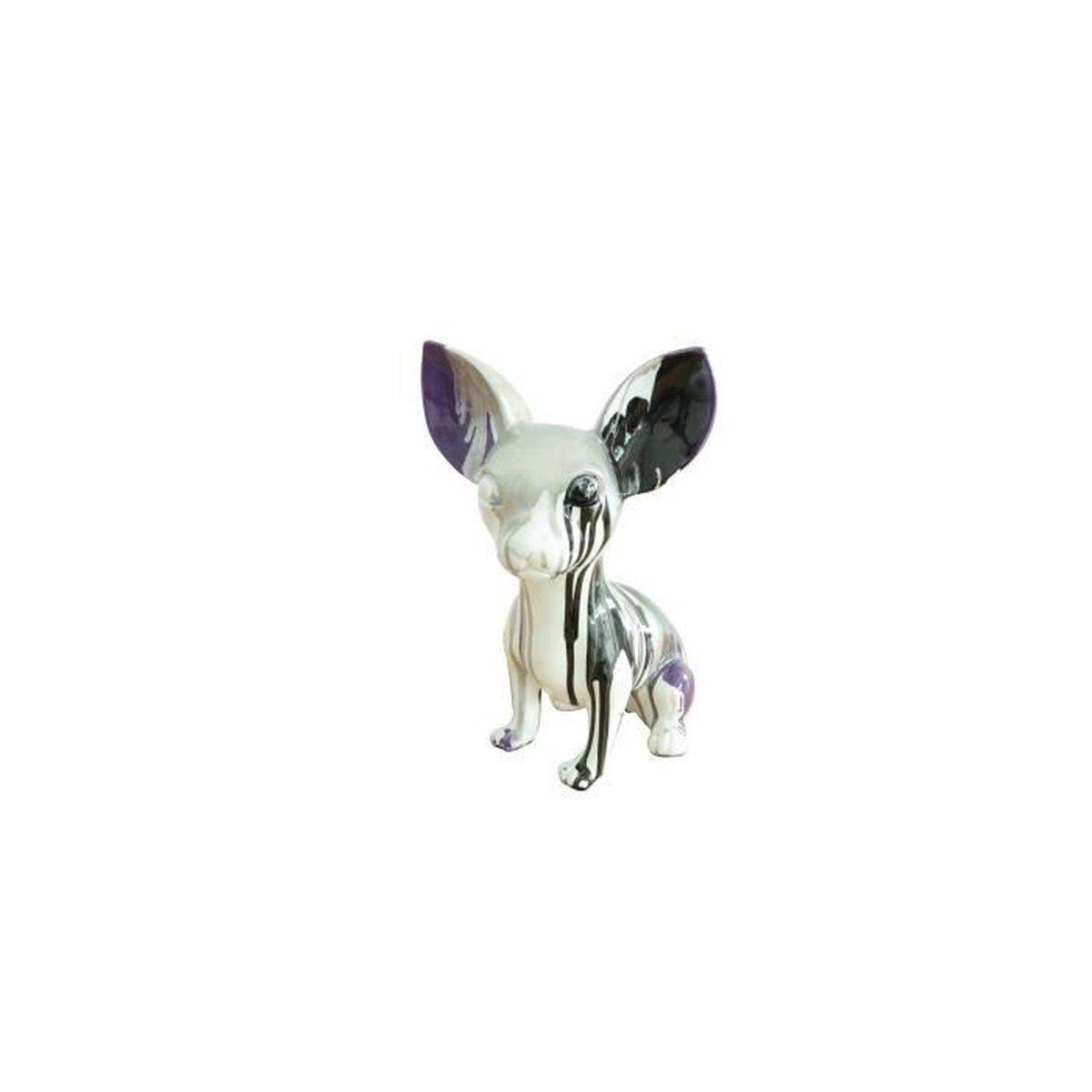 statue chihuahua d co moderne noir violet gris tendance art moderne achat vente statue. Black Bedroom Furniture Sets. Home Design Ideas