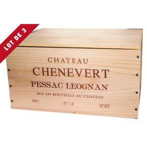 Boîte cadeau 3X La Caisse Bois 6x75cl estampillé Château Chênev