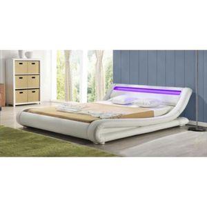 STRUCTURE DE LIT Lit design Sadhana blanc  140x190