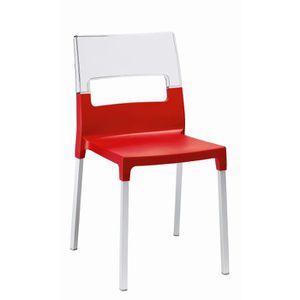 CHAISE Chaise Rouge Et Transparente Design