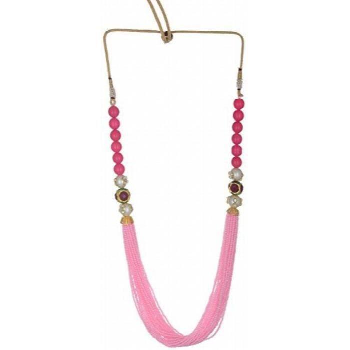 Strand Perles rose brillant Femmes Partywear collier pour & (pdt079) LMC03