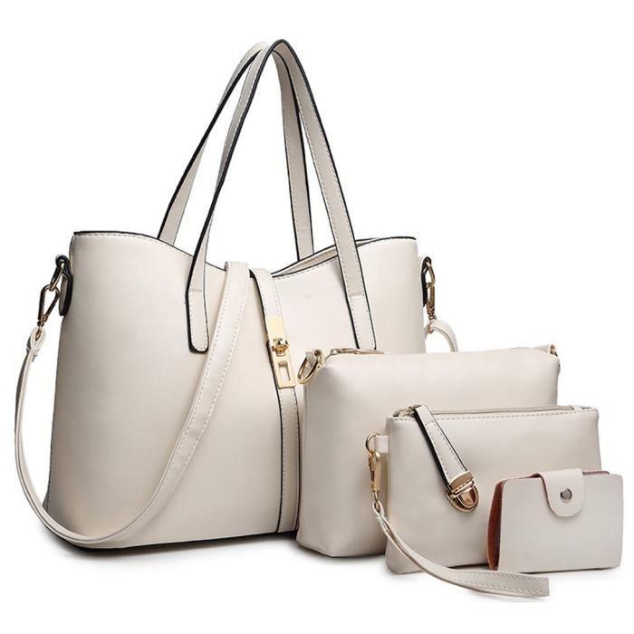 Mode Pu Sac à main en cuir + sac à bandoulière + sac + porte-cartes 4pcs Set fourre-tout H6SW0