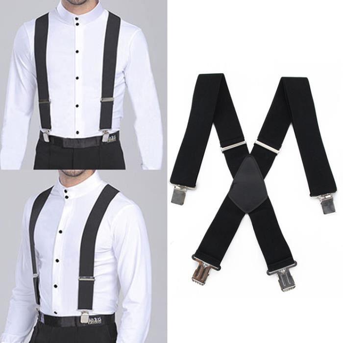 cd64438873439 50mm pour les hommes de la bonneterie 4 clips Extra large X-forme pantalon  sangles élastiques