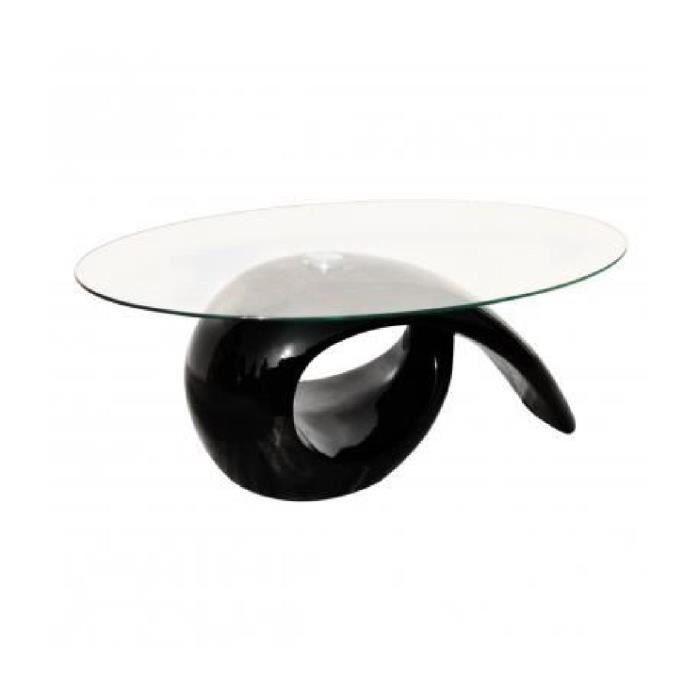 TABLE BASSE Table basse brillante noire avec plateau en verre