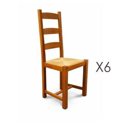 chaise lot de 6 chaises htre assise paille teinte chne - Chaise Hetre Assise Paille