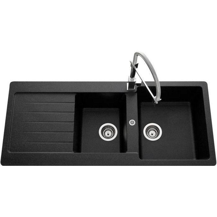 vier granit noir ledis 2 bacs 1 gouttoir achat vente evier de cuisine vier granit noir. Black Bedroom Furniture Sets. Home Design Ideas
