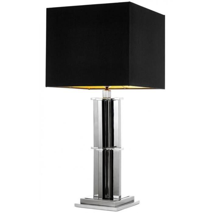 Casa Padrino lampe de table de luxe en argent avec abat-jour noir ...