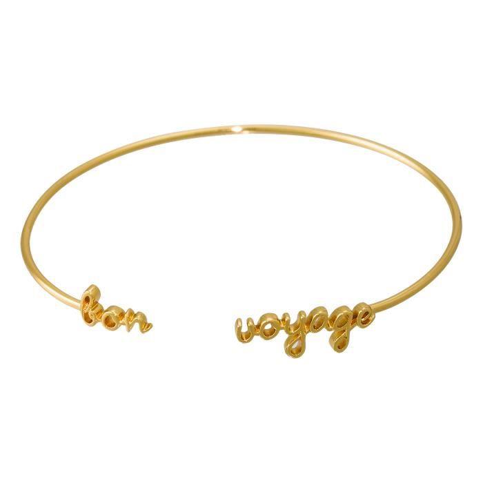 Bracelet Jonc à message BRACELET BON VOYAGE doré