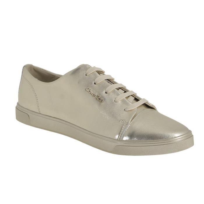 Chaussure de ville sport dame Calvin Klein Hamiltonen cuir couleur or.