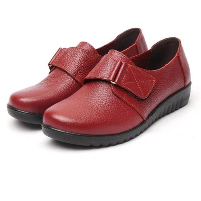 Chaussures Femme Printemps Été Comfortable Cuir Chaussure DTG-XZ063Rouge36