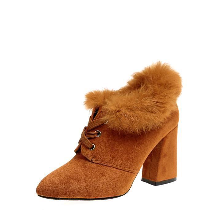 Design Femmes Bottine Solide Couleur Croisement épais Heeled Top Chaussures Mode 12241722