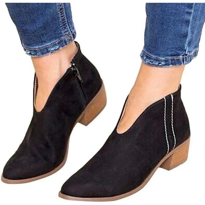 904941ad95576f ... Basse Plates Daim Bottes Talon Chic Compensées Grande Taille  Chaussures. BOTTINE Minetom Boots Femme Imprimé Léopard Bottine Femmes