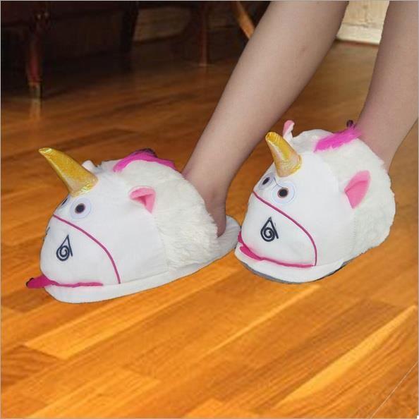 Une Paire de Pantoufles Licorne Unicorne Slip Épaississement Rose Antidérapante Pour Femme O4QsK