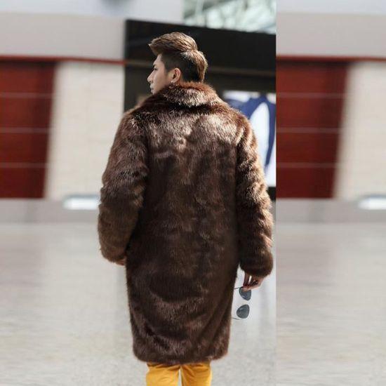 Parka Veste Cardigan Épais Fourrure Hommes Marron Manteaux Manteau Plus D'hiver Long En Chaud Fausse RqR7SYwv