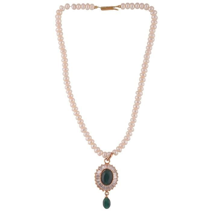 Womens Real Pearl Necklace Set With Cz Pendant For (6915) M6BWZ