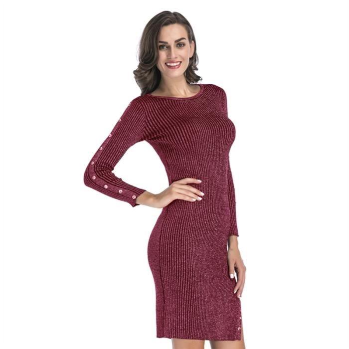 femme manches longues Pull élégant Tricoté Ensemble robe de la hanche, le vin rouge