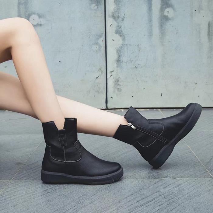 Cuir Chaussures Martin Plates Moyen Tube Bottes Zipper En Bas Casual Femmes yini955 5AwzSUq4