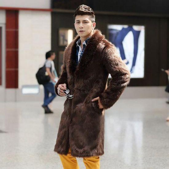 Parka Cardigan Épais Fausse Hommes Plus Fourrure Long Veste D'hiver Chaud Manteau En Marron Manteaux 7SZwqvg