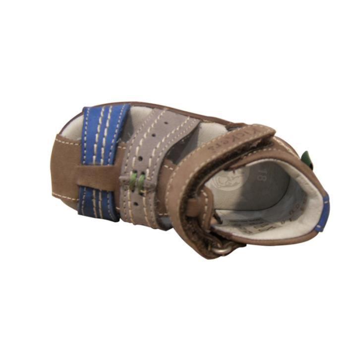 Sandale premiers pas garçons KICKERS cuir gris