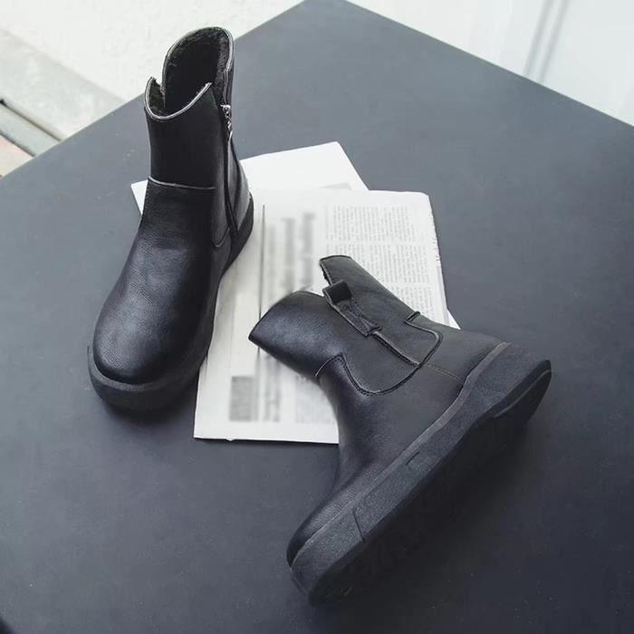 yini955 Plates Casual Martin Bas Bottes Tube Zipper Moyen En Cuir Chaussures Femmes H8qPpP