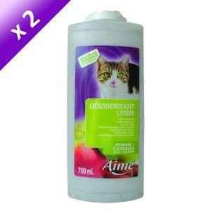 Lot de 2 - AIME Désodorisant pour liti?re pomme cannelle 700 ml - Pour chat