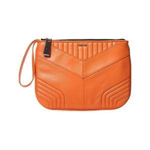 SAC À MAIN Le-zipper - Sac pochette en cuir - orange