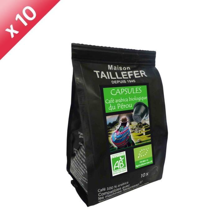Lot de 10 Sachets de Café Arabica x10 dosettes - TAILLEFER