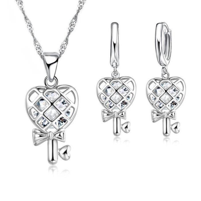 plusieurs couleurs vente de sortie nouvelle collection Belle Comme Venus® Parure bijoux femme clé coeur oxyde de zirconium argent  925