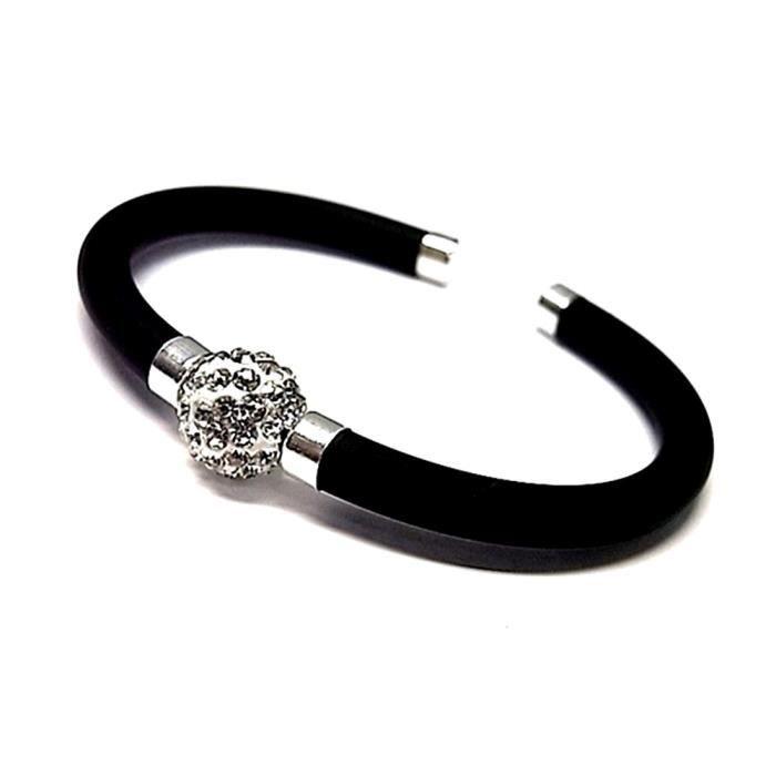 Bracelet imitation loi caoutchouc 925m argent pierre ouverte [AA9901]