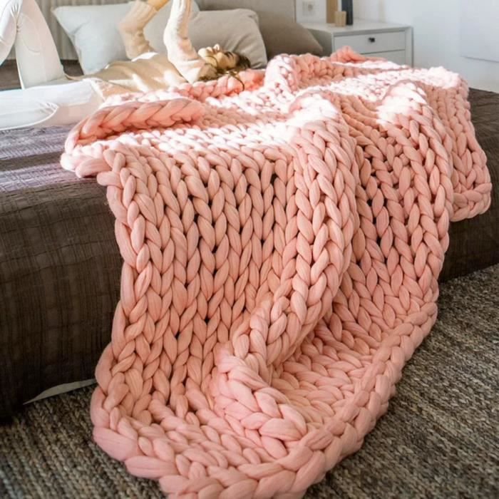 100 100cm main tricot grosse couverture laine paisse. Black Bedroom Furniture Sets. Home Design Ideas