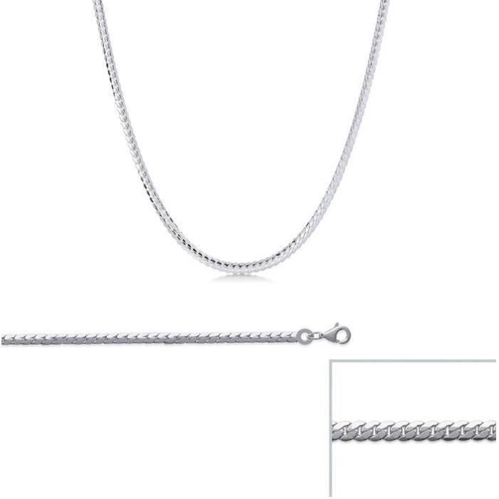 Chaine argent Platte maille ANGLAISE largeur 2,1mm (45 cm)