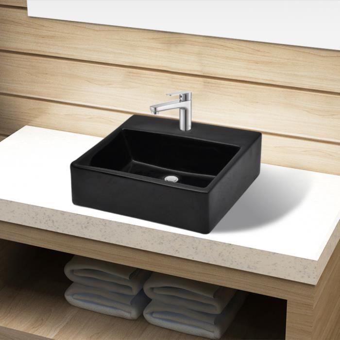 Vasque rond à trou de robinet carré Noir céramique pour salle de ...